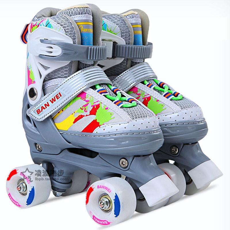Colorful Kid s Roller Skates Size Adjustable Double Line Skates For Children Two Line Skating Shoes