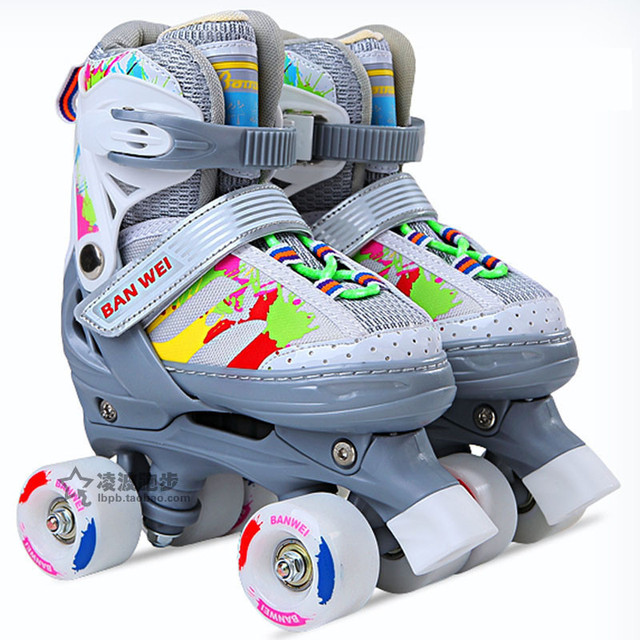 Colorful Kid's Roller Skates Size Adjustable Double Line Skates For Children Two Line Skating Shoes Patines With PU Wheels IB06