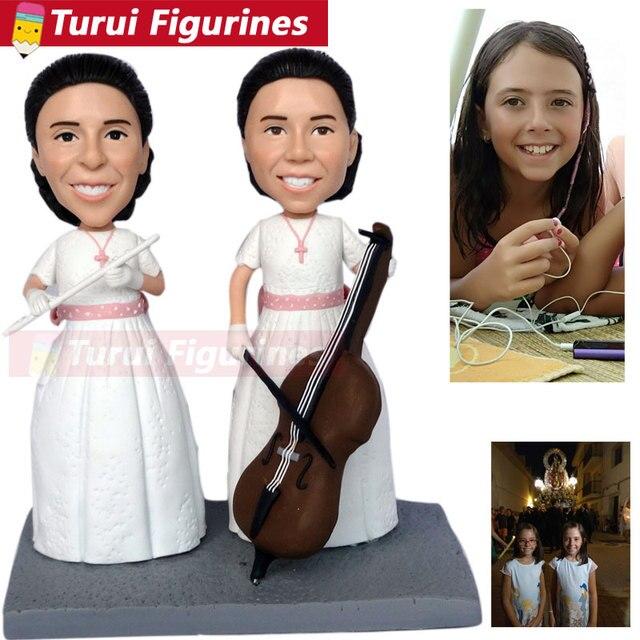 Figurines personnalisées pour filles | figurines de gâteau en forme de tête de bobine, décoration de gâteau de mariage, cadeau de fiançailles pour fille, décoration de maison