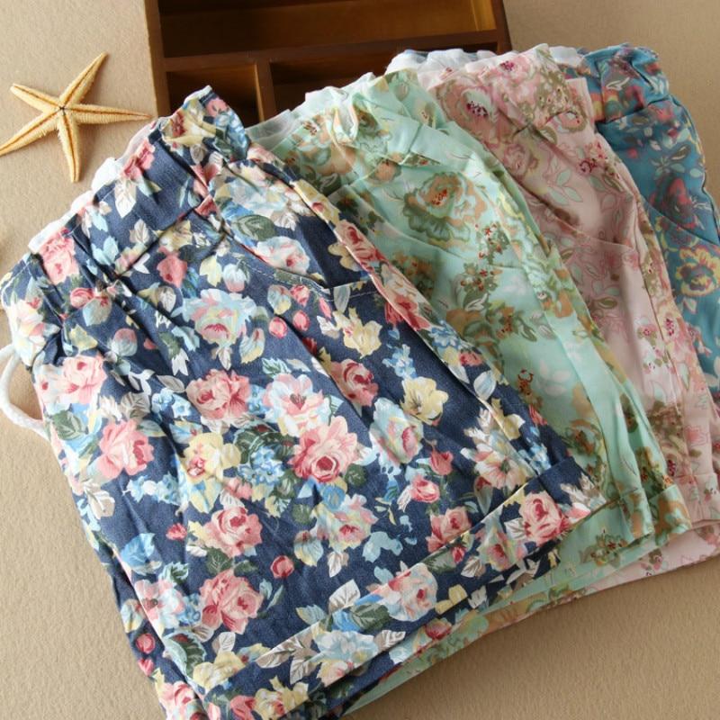 2018 summer flower printed shorts women casual mini sweatpants wide leg women clothe high waist plus size shorts women