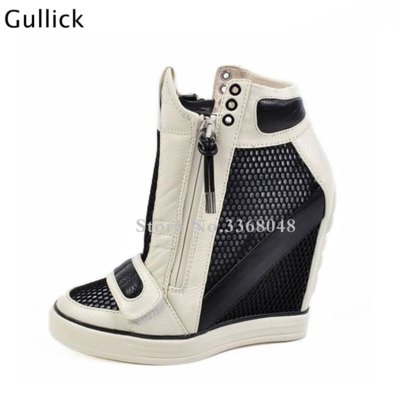 Fashion Women Top Leather Black White Woman Sandal Boots 12 CM High Heels Wedges Hollow Out Net Leisure Shoes Side Zip Boots