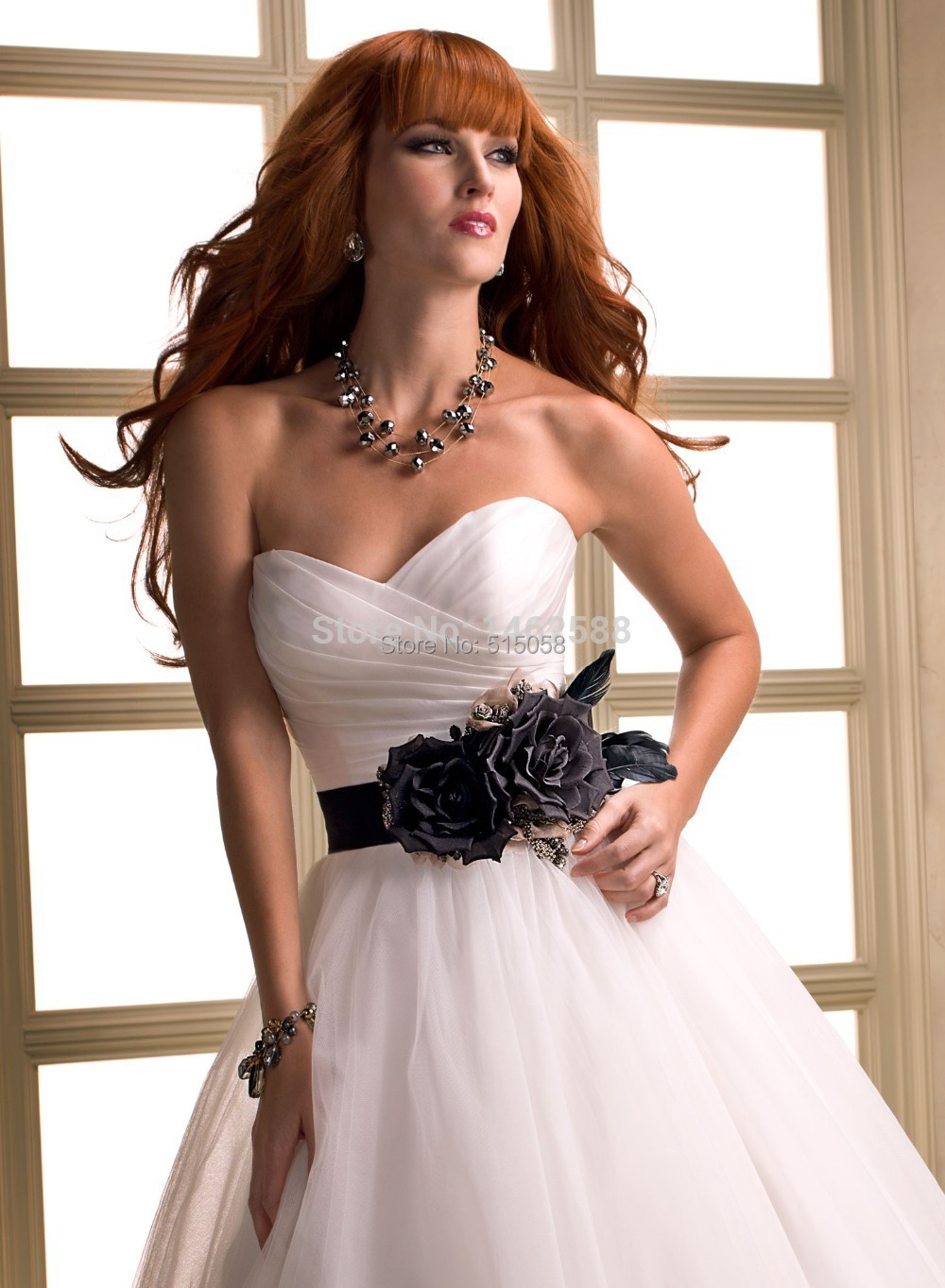 Pleated sweetheart black sashes with handmade flowers white tulle pleated sweetheart black sashes with handmade flowers white tulle wedding dress princess 2015 new elegant bridal gowns in wedding dresses from weddings mightylinksfo