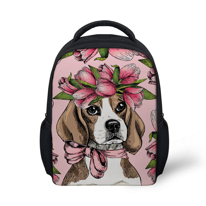 Cute Beagle Flower Printing School Bags for Children Kindergarten School Backpack Girls Small Book Bag Shoulder Bags