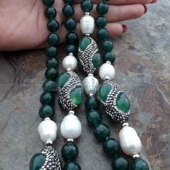 Green Onyx White Rice Pearl Necklace