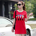 New Female Summer Fashion T-shirt  2016 Large Plus Size M-4XL Casual Style Long Cotton T-shirt A282