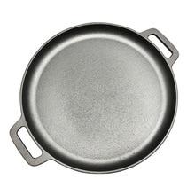 30cm/33cm/35cm Cast Iron Steak Pan Round Uncoated Frying Pot Pizza Pancake Maker Flate Bottom BBQ Roasting Pan Meat Roaster