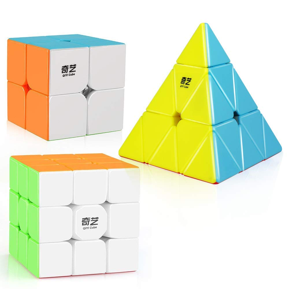 D-FantiX Qiyi Speed Cube Set Stickerless Qidi S 2x2 Warrior W 3x3 Qiming Pyramid Magic Cube Puzzle Toys