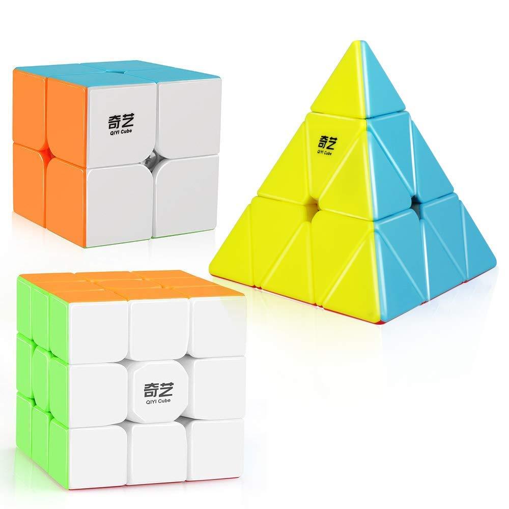 D-fantix qiyi velocidade cubo conjunto stickerless qidi s 2x2 guerreiro w 3x3 qiming pirâmide cubo mágico quebra-cabeça brinquedos
