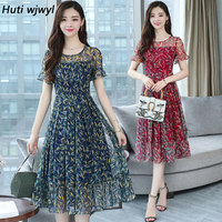 71295327b4147f 3XL Plus Size Summer Floral Chiffon Boho Sundress 2019 Korean Elegant Women  Beach Midi Dresses Casual