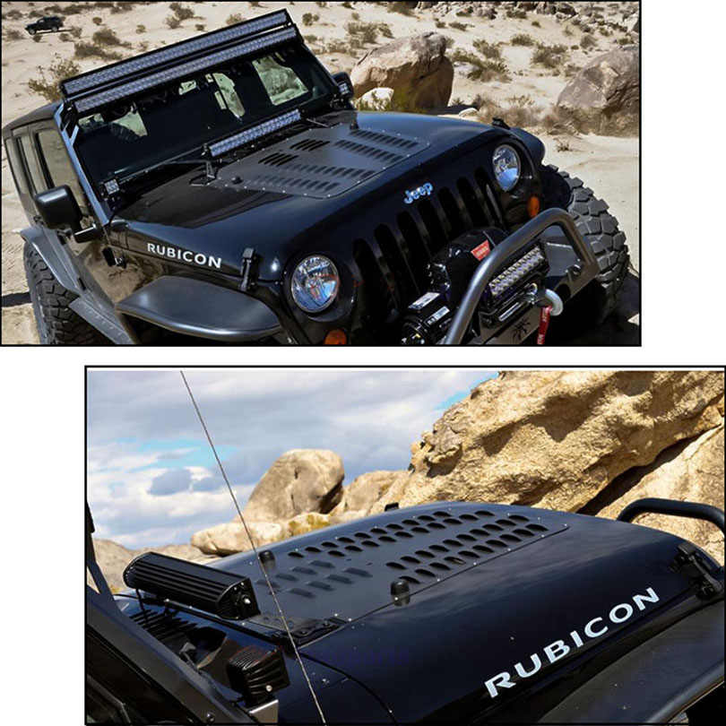 Aluminum Alloy Black Poison Spyder Hood Louver Panel Engine Vent Outet  Insert Cover Protector for Wrangler JK 2008-2017
