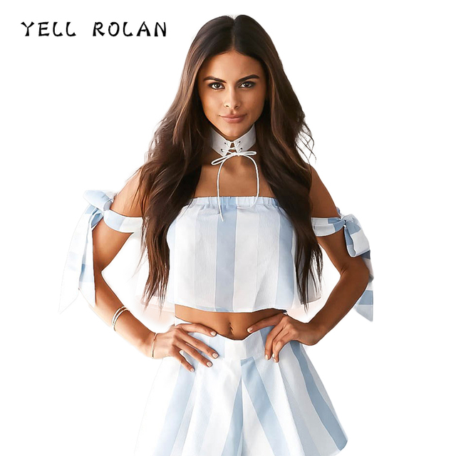 YELL ROLAN 2018 Basic Hot Two Pieces Set Women Striped Strapless Crop Top Sexy Bustier Short Tops and Summer Beach Party Shorts