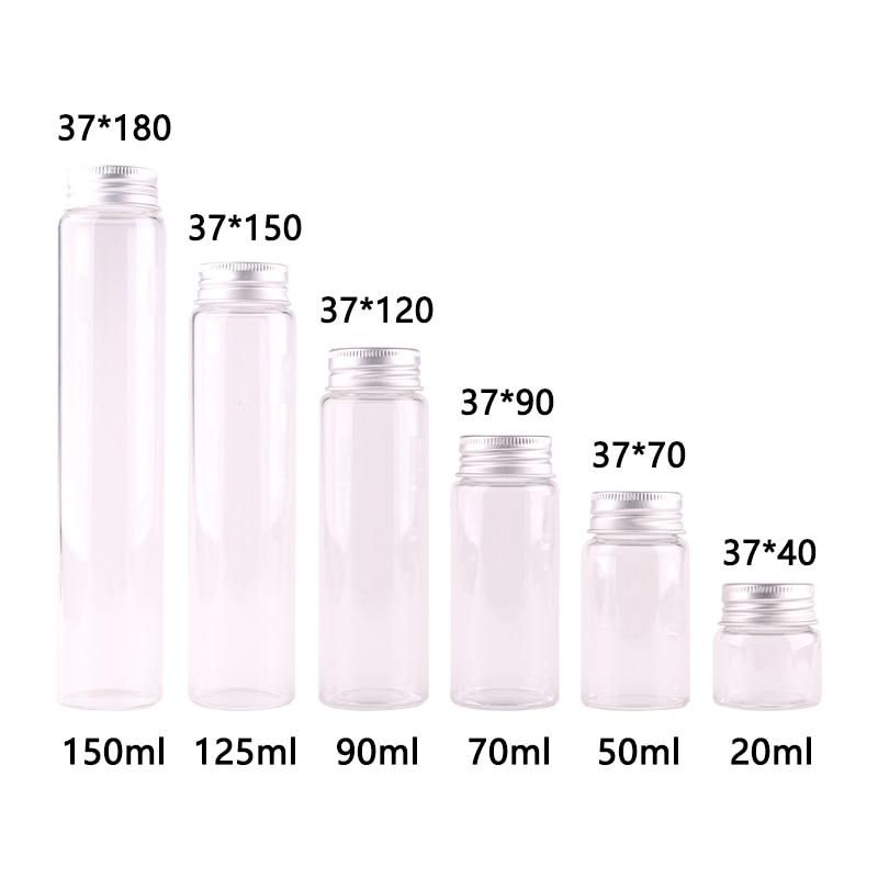a736a249f3aa US $14.34 45% OFF|15pcs Dia 37mm 20ml/50ml/70ml/90ml/125ml/150ml  Transparent Glass Spice Bottles Candy Jar Terrarium with Screw Aluminum Lid  Craft-in ...