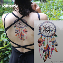 Romantic Dreamcatcher Tattoo Colorful Feather Body Art Dream Catcher Waterproof Big Flash Fake Temporary Tattoos Sticker On Arm