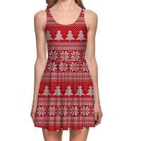 Europe Red Sexy Women Tennis Sports Pleated Dress Vogue Slim Elastic Lady Christmas Design Skater Dresses