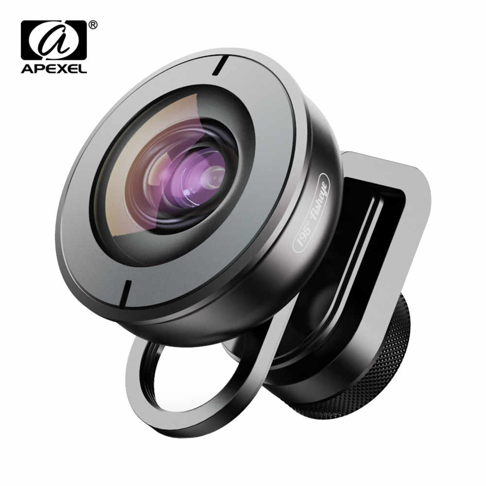 Apexel 195 degree Fisheye Lens Camcorder Lens for Dual Lens Single Lens iPhone,Pixel,Samsung Galaxy All Smartphones For xiaomi