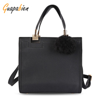 Guapabien Fashion OL Dress Tote Bag Women Frosted PU Leather Large Shoulder Bag Hairball Quadrate Tote
