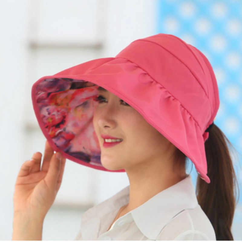 85ec81021a4 ... wide brim summer hats for women sun hat panama reversible UV protection  floral beach cap sombrero