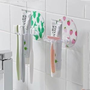 Image 3 - Soporte para cepillo de dientes, soporte para afeitar, 4 ganchos, caja dispensadora de pasta dental, organizador de almacenamiento, colgador adhesivo, accesorios para baño