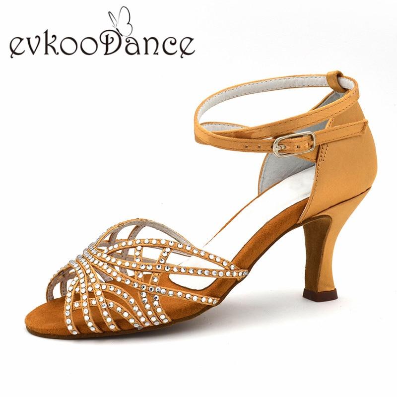 Dancing Shoes Tan Heel Height 7 cm Satin Latin Dance Shoes Size US 4-9.5 Comfortable Zapatos De Baile For Women NL183