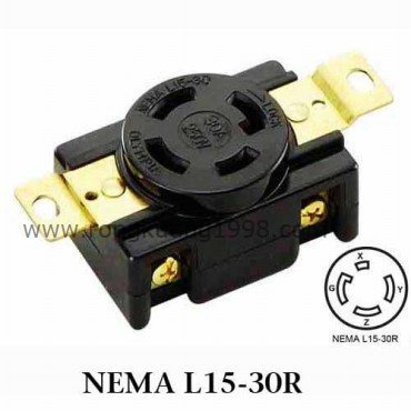 WJ 6431B NEMA L15 30R Locking Receptacle, Twist lock receptacle, 30A on 125v 3 wire plug schematic, nema l6 30 wiring, l14-30p schematic, nema 14-30p schematic,