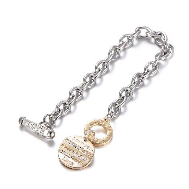 Золотые браслеты на запястье для женщин Круглый диск с логотипом