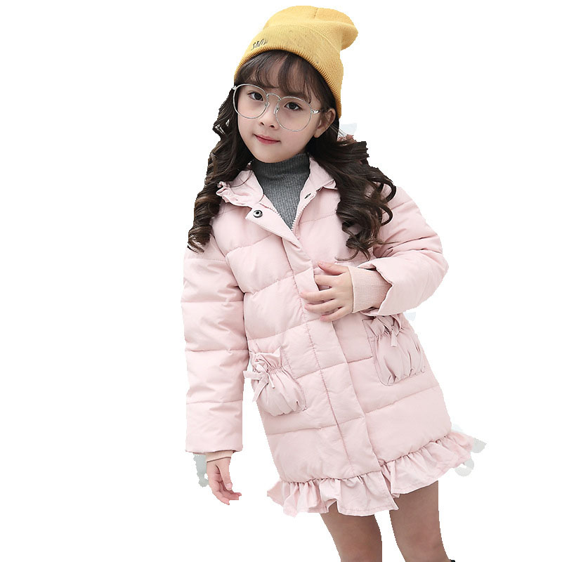 Christmas long down jacket for girl hooded white duck down little baby girls coat winter red black pink thick children clothing christmas long hooded jacket girl 90
