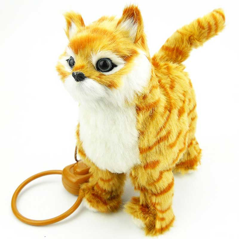 Купить с кэшбэком Electronic Cat Robot Cat Toy Electronic Plush Pet Toy Singing Songs Walk Mew Leash Kitten Toys For Children Birthday Gifts