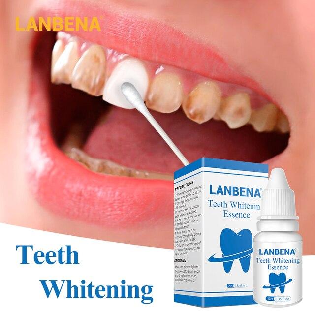 LANBENA dientes blanqueamiento esencia polvo higiene bucal limpieza suero elimina las manchas de placa blanqueador dientes herramientas dentales pasta de dientes