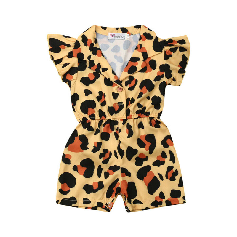 1-5Years Summer Infant Kids Baby Girl Clothes Ruffle Sleeve Leopard Romper Jumpsuit Outfits Sunsuit Baby Clothing
