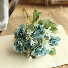 Artificial flower European wild rose bunch home decoration wedding holding road lead wall fake flowers