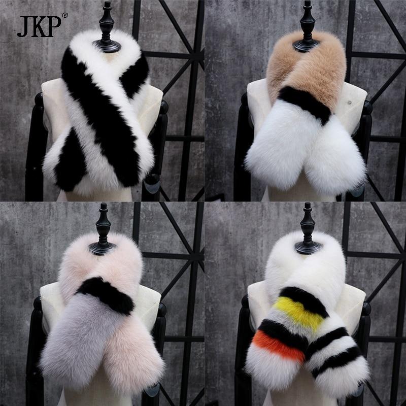 Women's Winter Genuine Fox fur Collar Fashion Scarf Color stitching Soft Fox fur Collar Real Fur Scarves