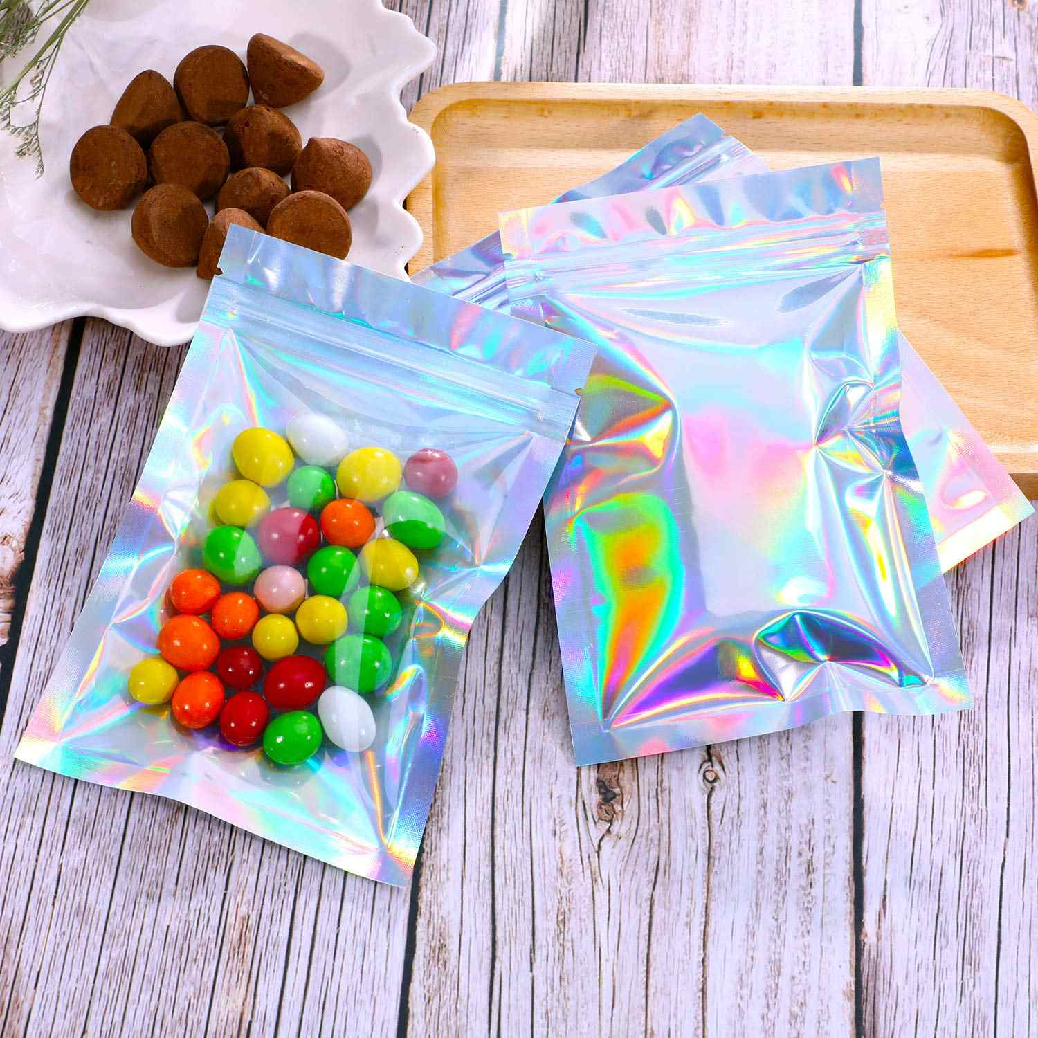 100pcs Flat Zip lock Bath Salt Cosmetic Bag One Side Clear Holographic Laser Mini Aluminum Foil Zip Lock Plastic Bags Thick
