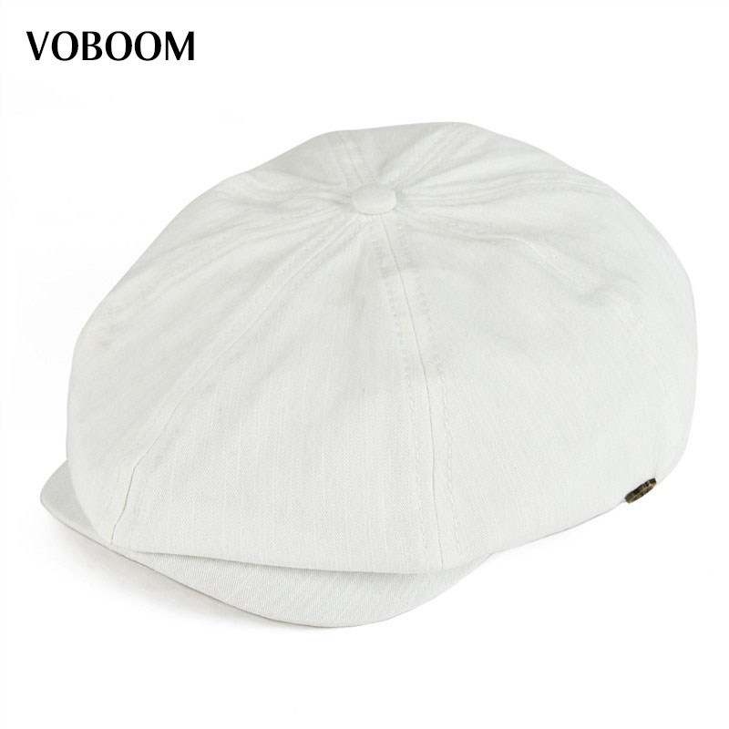VOBOOM Summer White Cotton Newsboy Cap Men Women Eight Panel Hat Baker Boy Caps Retro Apple Hats 134