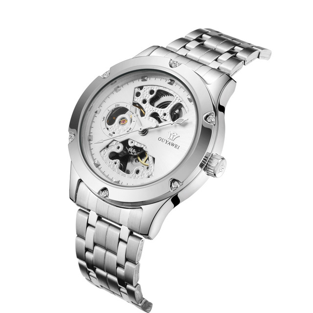 2019 OUYAWEI Wrist Watches Men Luxury Silver Automatic Mechanical Skeleton Dial Stainless Steel Strap Women Best Gifts  Clock