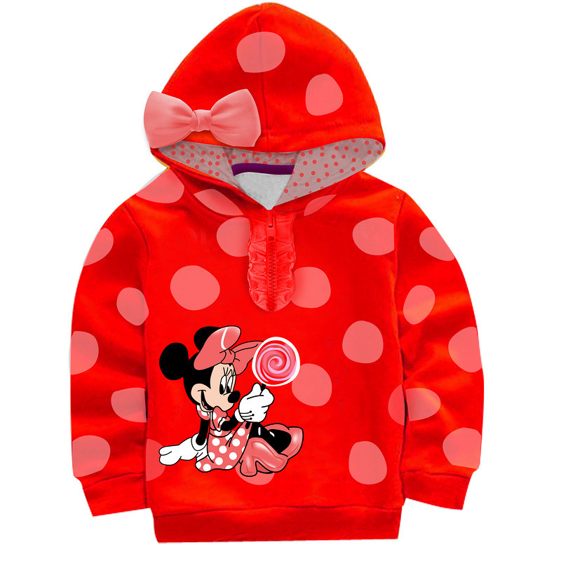 New Wholesale 5 Sets Lot Bow Mini Mouse Baby Girls Cartoon Clothing Long Sleeve Hoodies Children