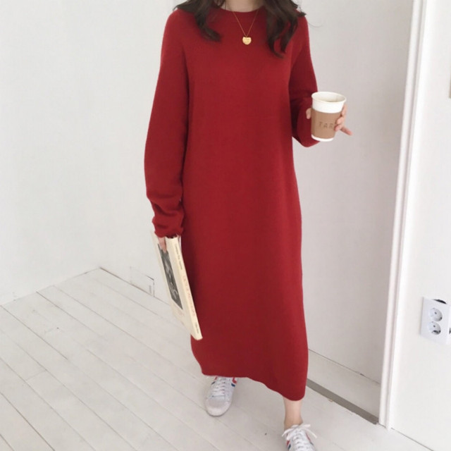 Women autumn Winter Long Sweater Dress Female Long Sleeve Straight oversized Knitted dresses round collar cozy 5