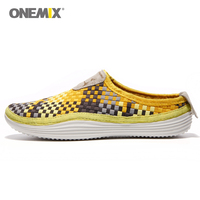Onemix Weaving Running Shoes For Men Athletic Sneakers Casual Weave Sport Slippers Walking Man Knitted Zapatillas