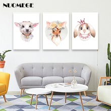 Nordic Animals Poster Deer Rabbit Dog Canvas Vintage Painting Wall Art For living room decoration Posters and Prints Picture