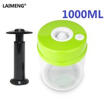 LAIMENG 1000ML Food Vacuum Container Canister Work With Vacuum Sealer Plastic Storage Containers With Pump Best Kitchen Box S168(China)