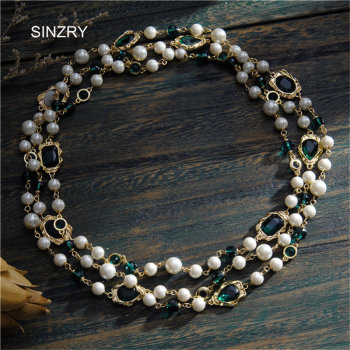 Crystal vintage long necklaces imitation pearl party