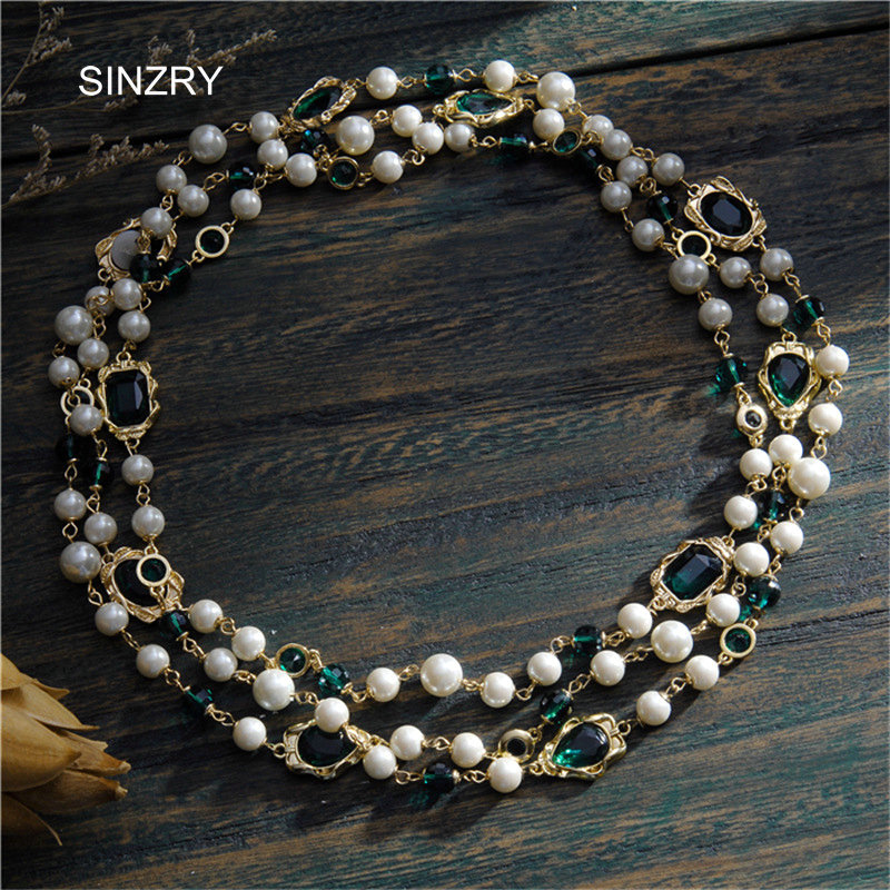 SINZRY luxury jewelry accessory gold color glass crystal vintage long necklaces imitation pearl party costume jewelry for women