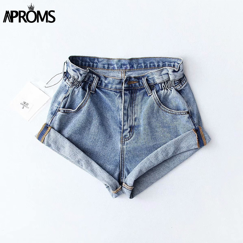 Aproms Casual Blue Denim Shorts Women Sexy High Waist Buttons Pockets Slim Fit Shorts 2019 Summer Beach Streetwear Jeans Shorts 43