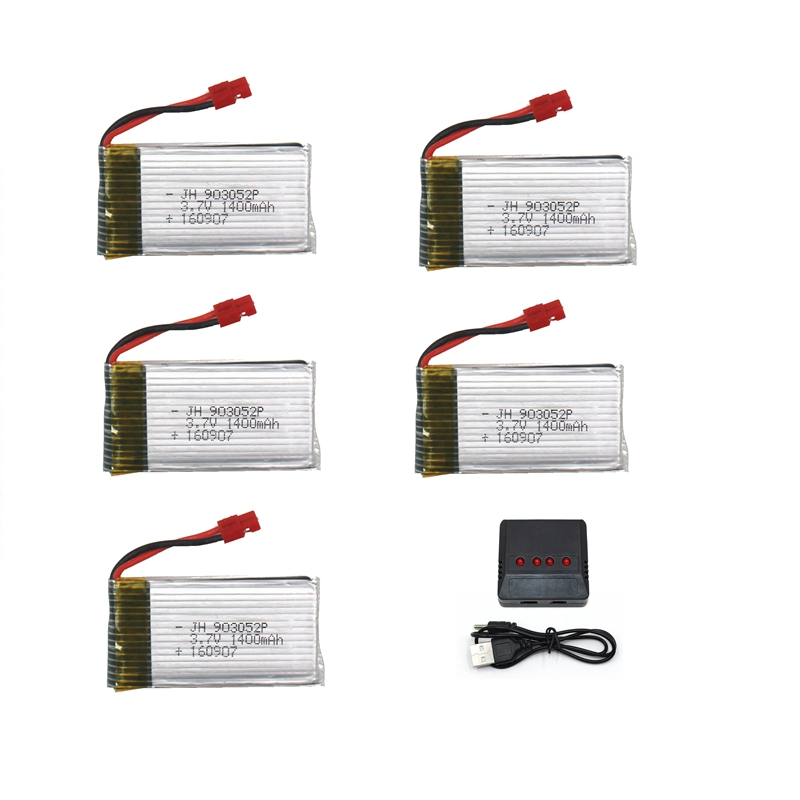 5pcs 1400mah Battery For Syma X5H X5HC X5HW Battery Rc Drone Spare Part 3.7v Lipo Battery Accessory Rc Quadcopter Kit 4pcs 500mah lipo 4 in 1 usb charger set for syma x5hc x5hw quadcopter remote control drone model spare part replacement set