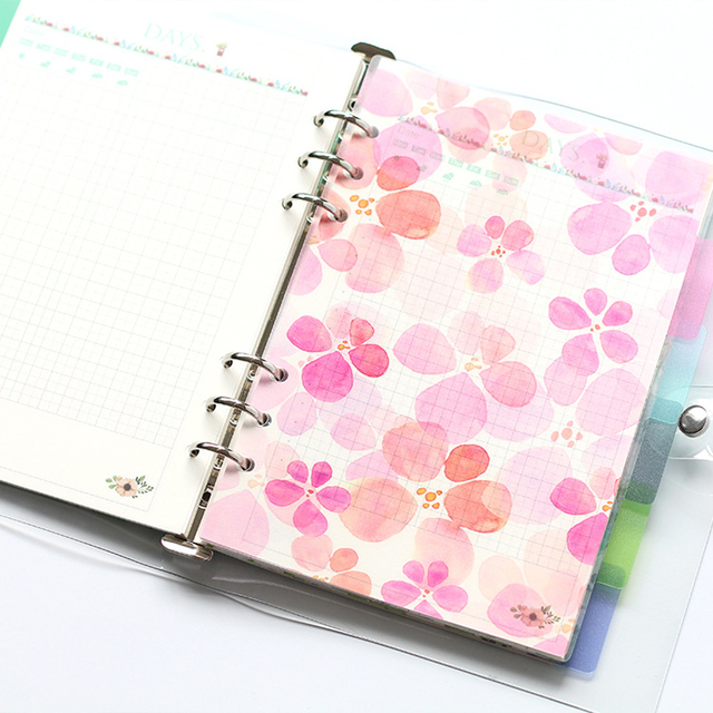 Creative A5 A6 A7 Colored Notebook Index Page Matte Cover Spiral Diary Planner Paper Note Book Category Pages Stationery 3