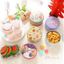 Free Shipping!6pc Handmade Cookies Biscuit Tin Round storage box Metal