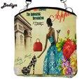 Mujeres lindas Bolsas de Mensajero Pequeña Solapa Señoras de la Lona Impresión bolso de Crossbody Del Bolso Muchachas de la Impresión Floral de La Vendimia de Las Mujeres Bolsas