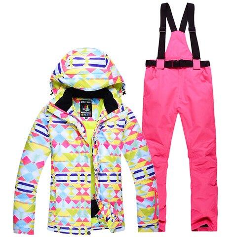 Cabolsas de Neve Trajes de Roupas de Snowboard Esportes ao ar Jaqueta de Esqui Terno + Babadores Colorido Mulher Barato Senhoras Conjuntos Femininos Livre Pant