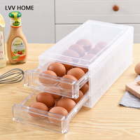 LVV HOME 24grid double layer egg storage box/Drawer idded kitchen refrigerator storage boxes crisper
