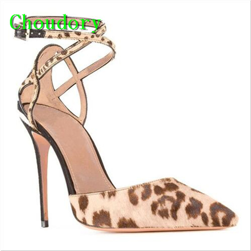 Choudory Buckle Cross-Tied Sexy Dress Women Super Thin High Heels Sandals Cross-tied Leopard Mixed Colors Gladiator Shoes Women