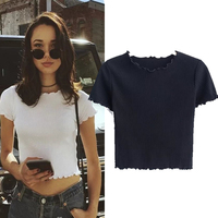 6 Colors Summer New European and American Style Retro Short Paragraph Exposed Navel Wood Ear Elastic Short - Sleeved T - Shirt